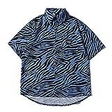 SSBZYES Herrenhemd Sommer Blumenhemd Herren Kurzarmhemd Vorne Kurz Hinten Langes Hemd Lose Strickjacke Gestreiftes Oberteil Hawaiihemd