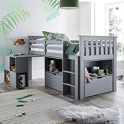 Happy Beds Milo Wooden Mid Sleeper Kids Bunk Bed Bedroom Furniture