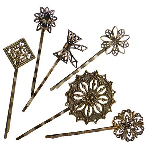 6 Retro Vintage Metal Hair Pin Bobby Pins Flower Bow Royal Square Bronze Accessories Women Girls