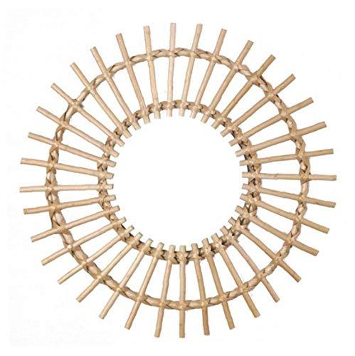 Yililay Montado en la Pared de ratán Espejo colgado del Espejo Hecho a Mano de Tejidos de círculo de Mimbre Moderna decoración para la Sala de baño
