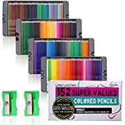 Feela 152 Colored Pencils with Pencil Sharpener Premium Soft Core Colors Pencils Set for Adult Coloring Books