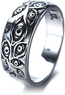 ZZ ZINFANDEL Stainless Steel Evil Eye Ring, Vintage Antique Silver Stackable Joint Eye of God Protection Ring for Men Women