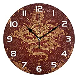 Round Wall Clock Vintage Asian Culture Traditional Chinese Dragon Non-Ticking Silent Decorative Clock,great gifts for Christmas with 9 Inch Battery Operated Quartz Desk Clock for Home、office