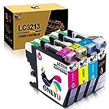 ONLYU LC3213 LC-3213 cartucho de tinta compatible con Brother LC3213 LC-3213 compatible con Brother DCP-J772DW J774DW MFC-J890DW J895DW Impresora (1 Negro 1Cyan 1Magenta 1 Amarillo)