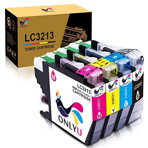 ONLYU LC3213 LC-3213 cartuccia d'inchiostro Compatibili con Brother LC3213 LC-3213,Compatibili con DCP-J772DW J774DW MFC-J890DW J895DW Stampante (1Nero 1Ciano 1Magenta 1Giallo)