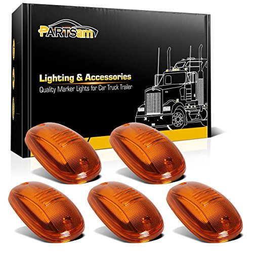 Partsam 5PCS Amber Top Roof Cab Marker Light 264146AM Light Amber Cover Lens with Base Housing Compatible with Dodge Ram 1500 2500 3500 4500 5500 2003-2018 Pickup Trucks