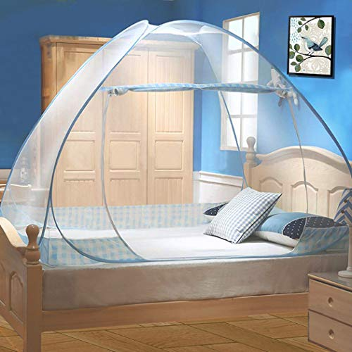 Digead Moskitonetz Bett, Faltbares Bett-Moskitonetz, Tragbares Reise-moskitonetz, Einzeltür-Moskito-Campingvorhang,100 * 200 cm-Blauer Rand