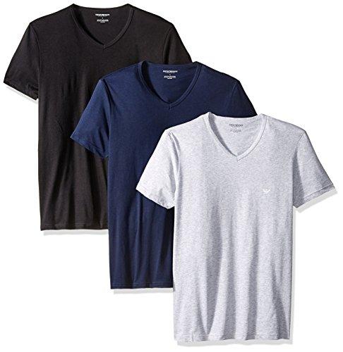 Emporio Armani Herren Men's Cotton V-Neck T-Shirt, 3-Pack Unterhemd, Grau/Marineblau/Schwarz, Klein (3er Pack)