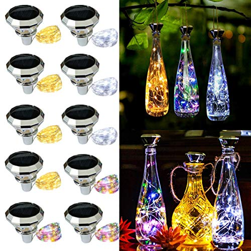 Solar Fairy Lights in a Bottle - 10 Pack Solar Diamond Shaped Wine Bottle Cork Lights, String Fairy Lamp Outdoor Waterproof, for Wedding Holiday Back Garden Patio Pathway Bar Colorful