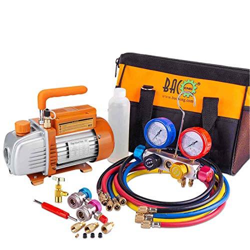 BACOENG 3 CFM Pompe à vide et 4 Voies Manomètre Collecteur Kit, Idéal pour R134A R410A R22