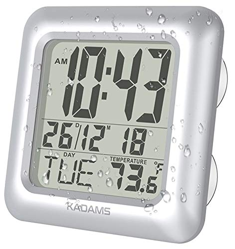 KADAMS Digital Bathroom Shower Clock, Waterproof for Water Spray, Temperature Thermometer, Seconds, Calendar Date Month Day, Suction Cups, Table Stand, Wall Clock - Silver Frame