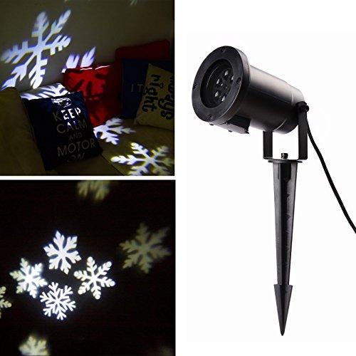 SALCAR LED Effetto Luce con Fiocchi di Neve Bianchi, Motivi dinamici, Lampada da Giardino proiettore, Decorazione murale, Feste, Giardino Luce per Feste, Natale, Carnevale