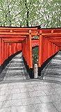 【千本鳥居 150㎝丈】和 京都 のれん おしゃれ 目隠し 仕切り カーテン レース 生地 かわいい 自然 風景