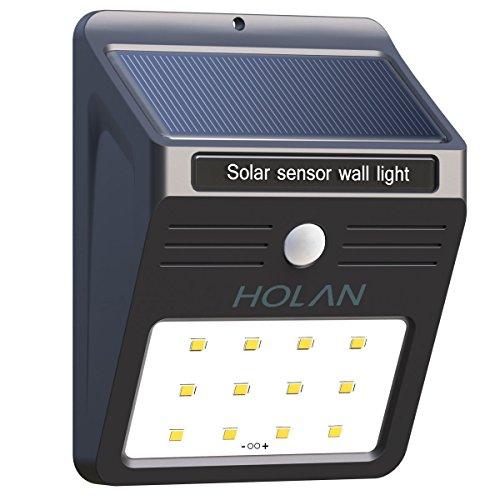 Luci Solari Holan 12 LED Lampada Wireless ad Energia Solare da Esterno Impermeabile con Sensore di Movimento per Muro, Giardino, Terrazzino, Cortile, Casa, Corraio ecc (1 pack)