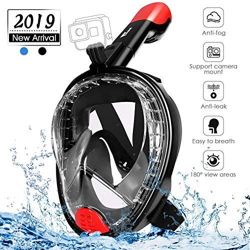 amzdeal Máscara de Buceo, Máscara de Snorkel Adjustable de Cara Completa 180° Visible Máscara de Esnorquel de Cámara Deportiva Anti-Vaho y Anti-Fuga