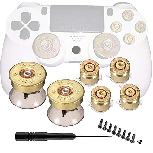 Bullet Buttons for PS4 Controller, COCOTOP Raplacement Parts Metal Thumbsticks and Action Buttons Set Mod Kits for Playstation 4/DualShock 4/PS4 Slim/PS4 Pro Controller Joystick