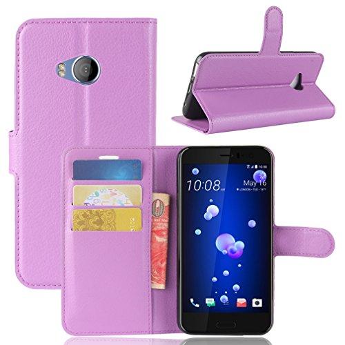 LMAZWUFULM Hülle für HTC U11 Life PU Leder Magnetverschluss Brieftasche Lederhülle Litschi Muster Standfunktion Ledertasche Flip Cover für HTC U11 Life Lila