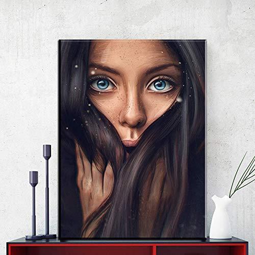 Chica de moda gran pared arte lienzo pintura mujer moderna cara imagen figuras abstractas pintura al óleo para decoración del hogar 60X90 CM sin marco