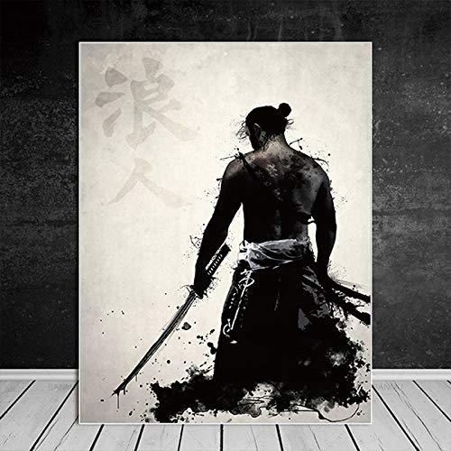 Geiqianjiumai Retro Japanischen Samurai Poster Leinwand Kunstdruck Moderne Wandbild Dekorative Malerei Wohnzimmer HD Dekoration Rahmenlose Malerei 40X50 cm