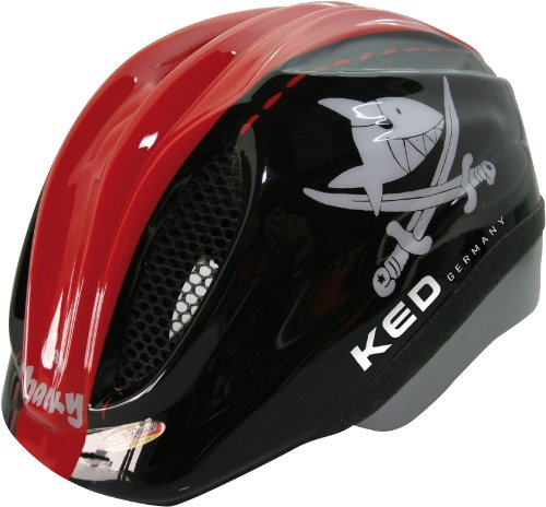 KED Unisex Fahrradhelm Meggy Original, Mehrfarbig (Capt'N Sharky Black Red) , 46-51