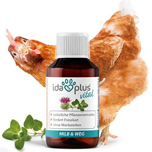Ida Plus – MiLB & Weg – Ergänzungsfuttermittel mit natürlichen Pflanzenextrakten – besonders gut für Hühner, Puten, Gänse, Enten & anderes Geflügel – Schluss mit Lästlingen – 1:1000 Konzentrat 100 ml