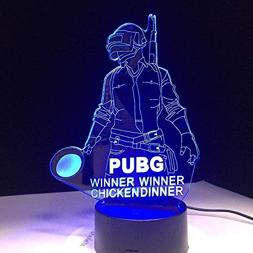 3D Illusion Lamp Cool New World Hot Game Player Unknown S 3D Lamp Winner Chicken Dinner 7 Colors Change Led Lamp