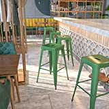 Flash Furniture Commercial Grade 30' High Backless Green Metal Indoor-Outdoor Barstool with Square Seat