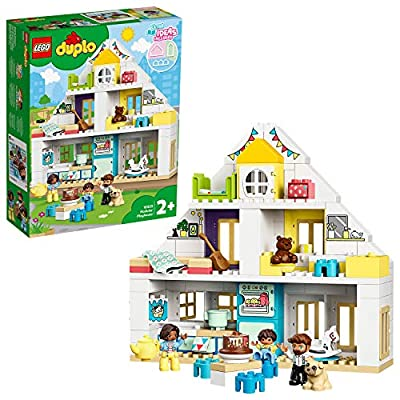 LEGO 10929 DUPLO Town Modular Playhouse 3-in-1 Set, Dolls House for 2+ Year Old Girls and Boys with Figures and Animals for Toddlers from LEGO