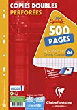 Clairefontaine 14791C - Un étui carton de 500 pages Copies doubles perforées 21x29,7 cm 90g grands carreaux