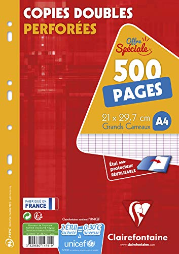 Clairefontaine 14791c Durchschlagpapier Seyes groß kariert 300 + 200 Blatt inkl. Stundenplan (frz. Modell)