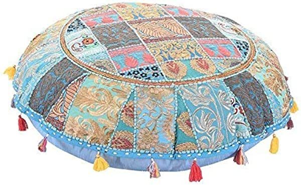 Indian Handmade Vintage Patchwork Bedroom Decor Hippie Cotton Boho Chic Bohemian Hand Embroidered Decorative Ethnic Foot Stool Round Floor Pillows Cushion Cover Seating Pouf Ottoman 32 Inch Dia