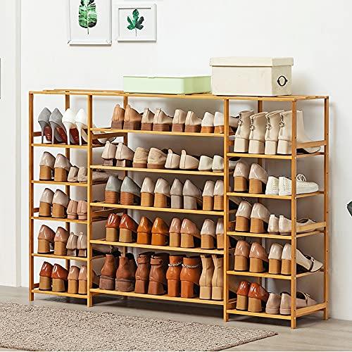 LOHOX Estante de Zapatos de 6/8 Niveles, Estantería para Macetas de Bambú 28cm de Ancho se Profundiza Fijación de Tornillos Incorporada, para Entrada, Baño, Cocina y Sala de Estar