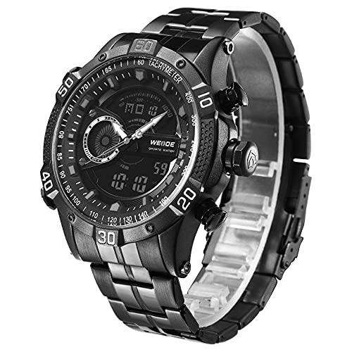 MARSPOWER Wh6902 Cinturón de Acero Reloj de Cuarzo de Doble Movimiento Reloj Simple Reloj de Pulsera Informal Impermeable para Hombres y Mujeres