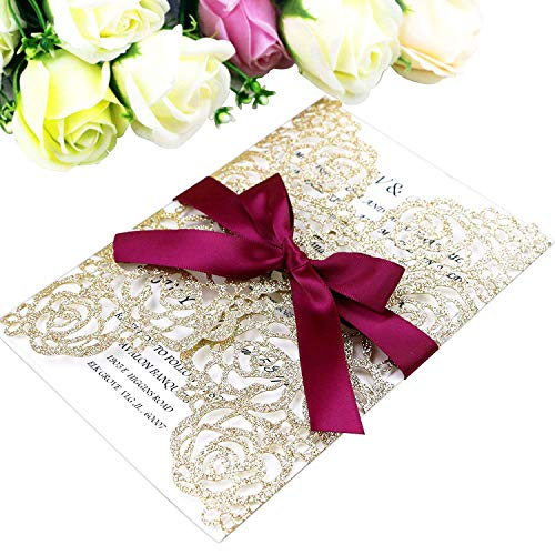 PONATIA 25 Pieces/Lot Laser Cut Hollow Rose With Burgundy Ribbon Wedding Invitation Card Bridal Shower Engagement Birthday Graduation Invitation (Rose Gold Glitter)