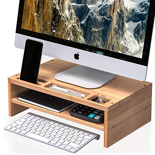 Well Weng Desk Monitor Riser Stand with Storage Organizer 2 Shelves for Computer, iMac, Printer,...