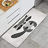 VAMIX,Mascot Raccoon Cute Woodland Wildlife Isolated Animals Smile,Soft Kitchen Mat Comfort Floor Mats Non-Slip Oil Stain Resistant Easy to Clean Kitchen Rug