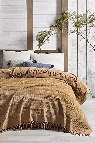 Milam London Tagesdecke aus Baumwolle, Waffelmuster, Überwurf für 2-3-Sitzer-Sofa, Couch, Bett I King Size 220 x 240 cm (Senf)