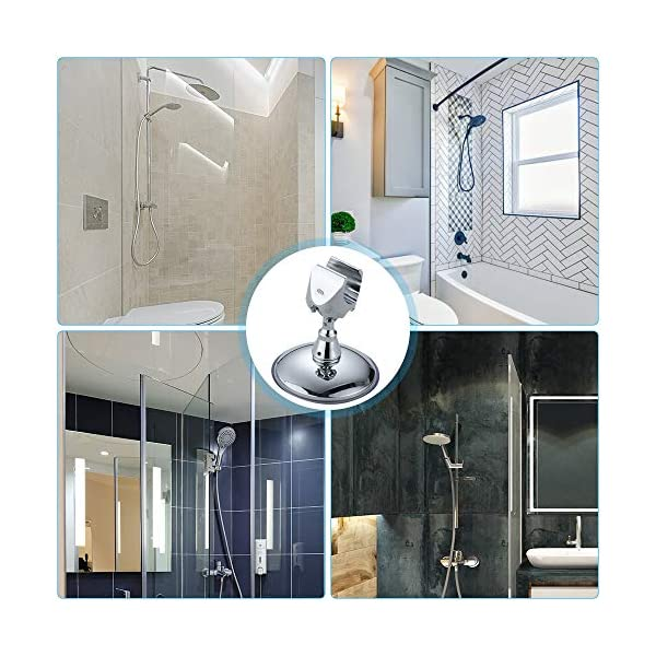 MOPOIN Soporte de ducha, 2 unidades, soporte para alcachofa de ducha, sin agujeros, giratorio 360°, ventosa al vacío…