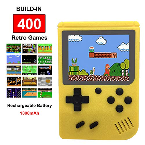Mini Retro Handheld FC Games Consoles ,Built-in 400 Classic Game, Portable Gameboy 3 Inch LCD Screen TV Output ,Good Gifts for Kids Boys Girls Men Women (Games Consoles Yellow)