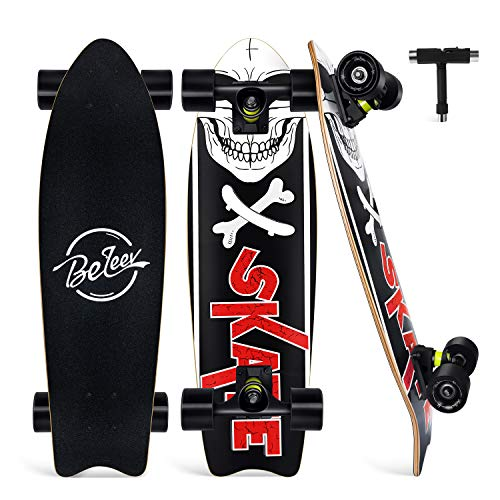 "BELEEV Cruiser Skateboard for Girls & Boys, 27""x8"" Complete Skateboard for Kids Teens & Adults, 7-Ply Maple Double Kick Deck Concave Trick Skateboard with All-in-One Skate T-Tool (Black)"