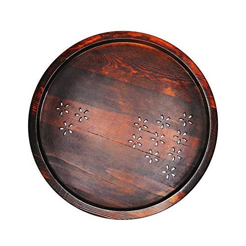VEIZEDD Round Wood Tray 11.8 Inch Japanese Style Cherry Tea Tray Food Tray Breakfast Ottoman Rustic Tray