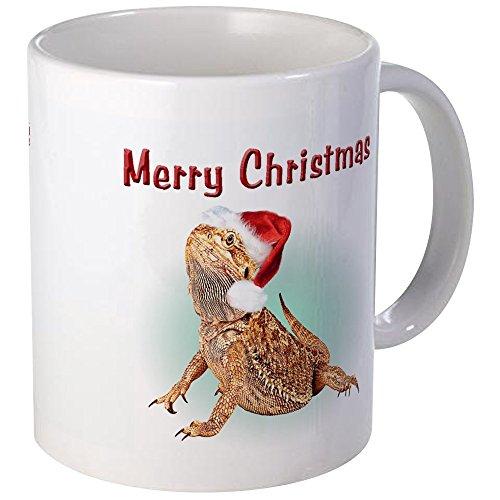 CafePress diseño de dragón Barbudo feliz Navidad taza–taza de café única ml, taza de café, taza de té, Blanco, small