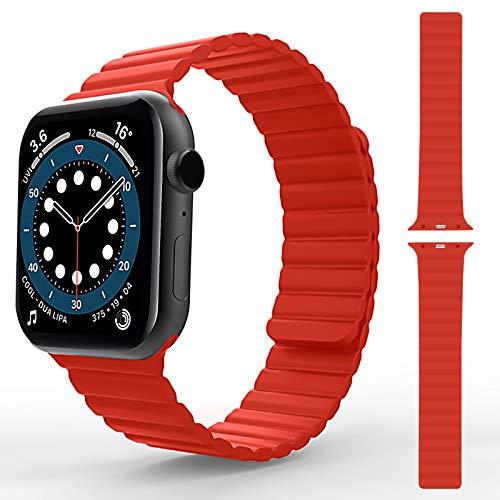 TOOVREN Kompatibel mit Apple Watch Armband 44mm 42mm 40mm 38mm, Herren Damen Einstellbar Sport Silikon Magnetverschluss Ersatz Armband für iWatch Series SE/6/5/4/3/2/1