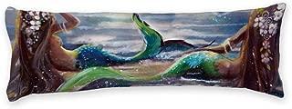 "AILOVYO Mermaid Painting Sea Long Body Pillow Case Cover Silky Shiny Satin Body Pillow Cover Custom Material 20"" X 54"""