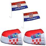 Sonia Originelli Fan-Paket-3'Auto WM Länder Fußball Flaggen Fahren Car Farbe Kroatien