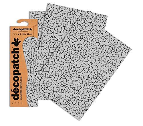 Decopatch Papier No. 535 (395 x 298 mm) 3er Pack silber giraffe