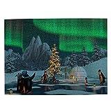 Rompecabezas de 500 Piezas,Pingüinos en el Lago congelado con diseño del círculo Polar,Rompecabezas de imágenes para niños, Adolescentes, Adultos,Divertido Juego de Alivio del estrés para Regalo