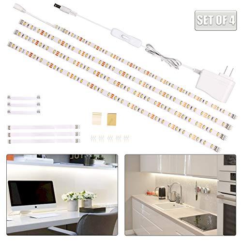 wobsion White Led Strip Lights, Under Counter Lights for Kitchen, Flexible Under Cabinet Led Light for Kitchen,Shelf,Cupboard,Desk,Mirror,6.6 Feet DIY Rope Light,12V UL Listed,120 LEDs,6000K,4 Panel