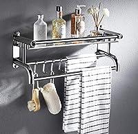 タオルラック、バスルームデコレーションタオルラック、自己粘着性タオルレール、フック付きダブルタオルレール収納棚壁掛け、バスルームキッチン用-A-Single_layer-40CM