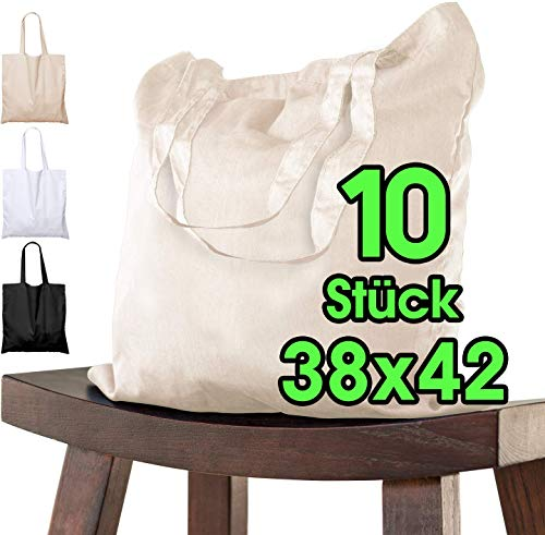 Bolsa de algodón para pintar 38x42 - 10 piezas natural para niños con asa CORTA - sin imprimir certificado OEKO-TEX® - bolsa de tela, bolsa de transporte, bolsa de compras de 140g / m de grosor